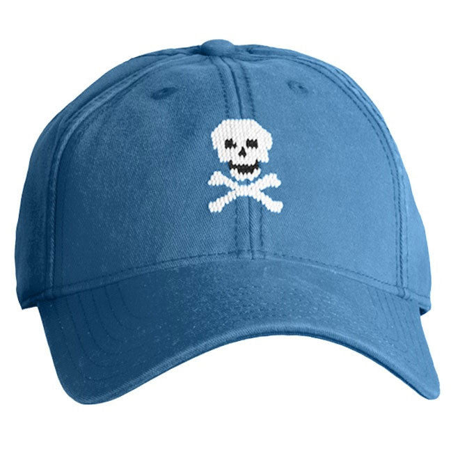 Skull & Crossbones Needlepoint Hat - Weathered Blue - Waiting On Martha - 1