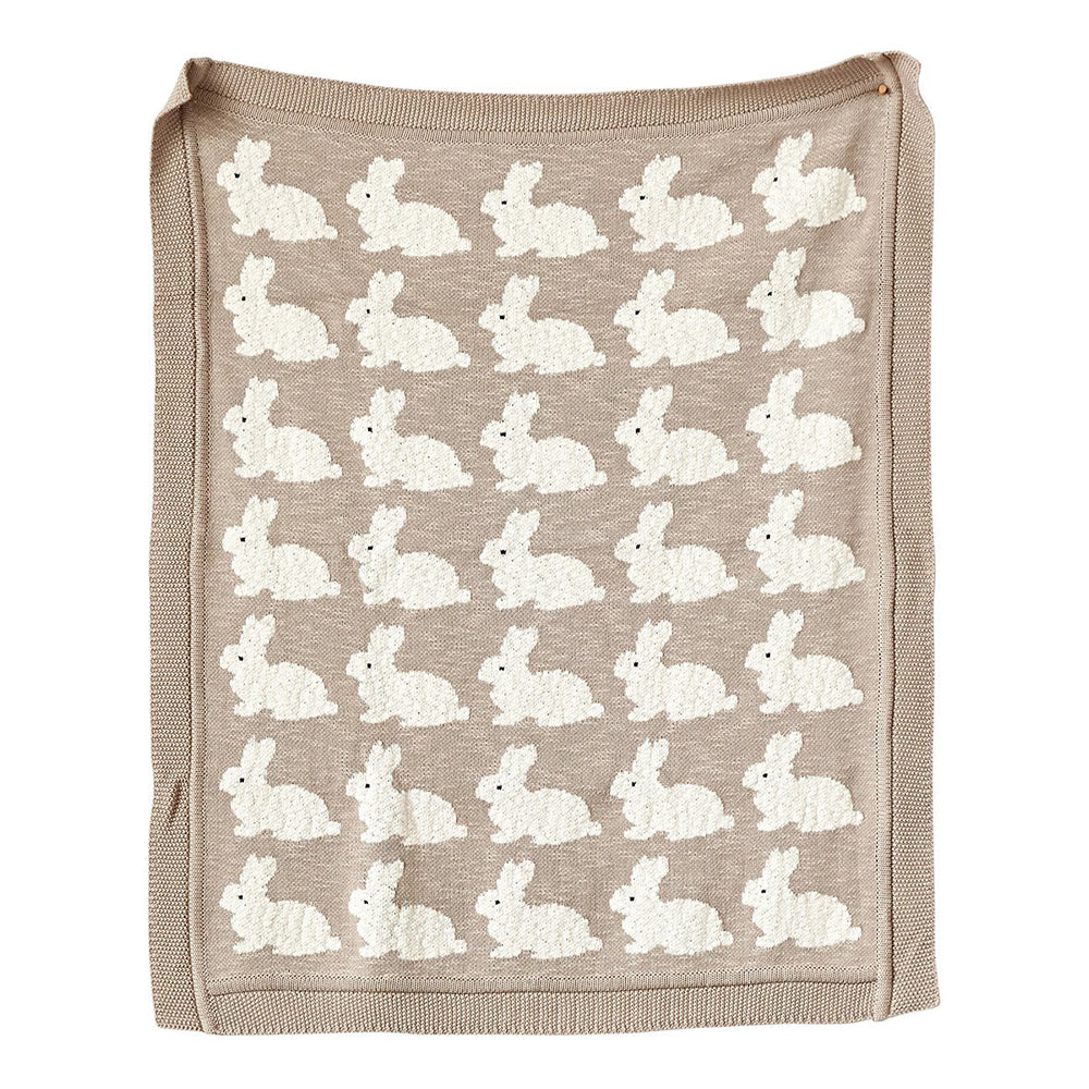 Taupe Rabbit Cotton Knit Blanket