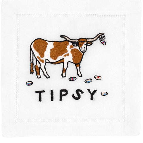"""Tipsy Longhorn"" Cocktail Napkin Set - Waiting On Martha"