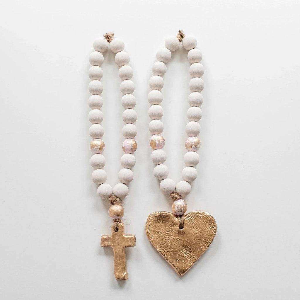 Handmade Short White Wood Blessing Beads
