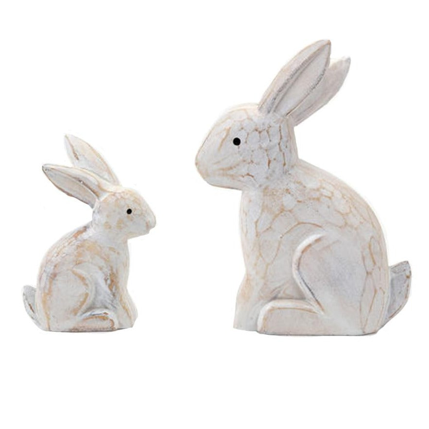 White Carved Wooden Bunnies