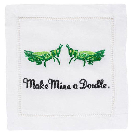 """Make Mine A Double"" Cocktail Napkin Set - Waiting On Martha"