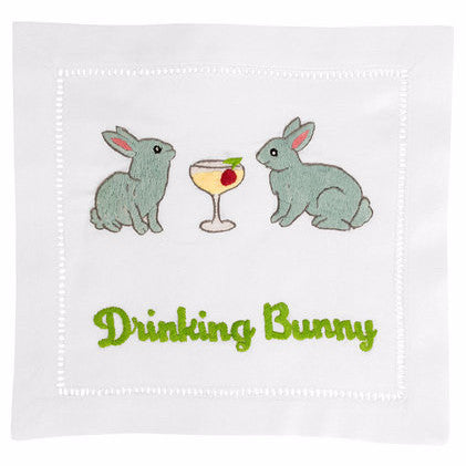 """Drinking Bunny"" Cocktail Napkin Set - Waiting On Martha"