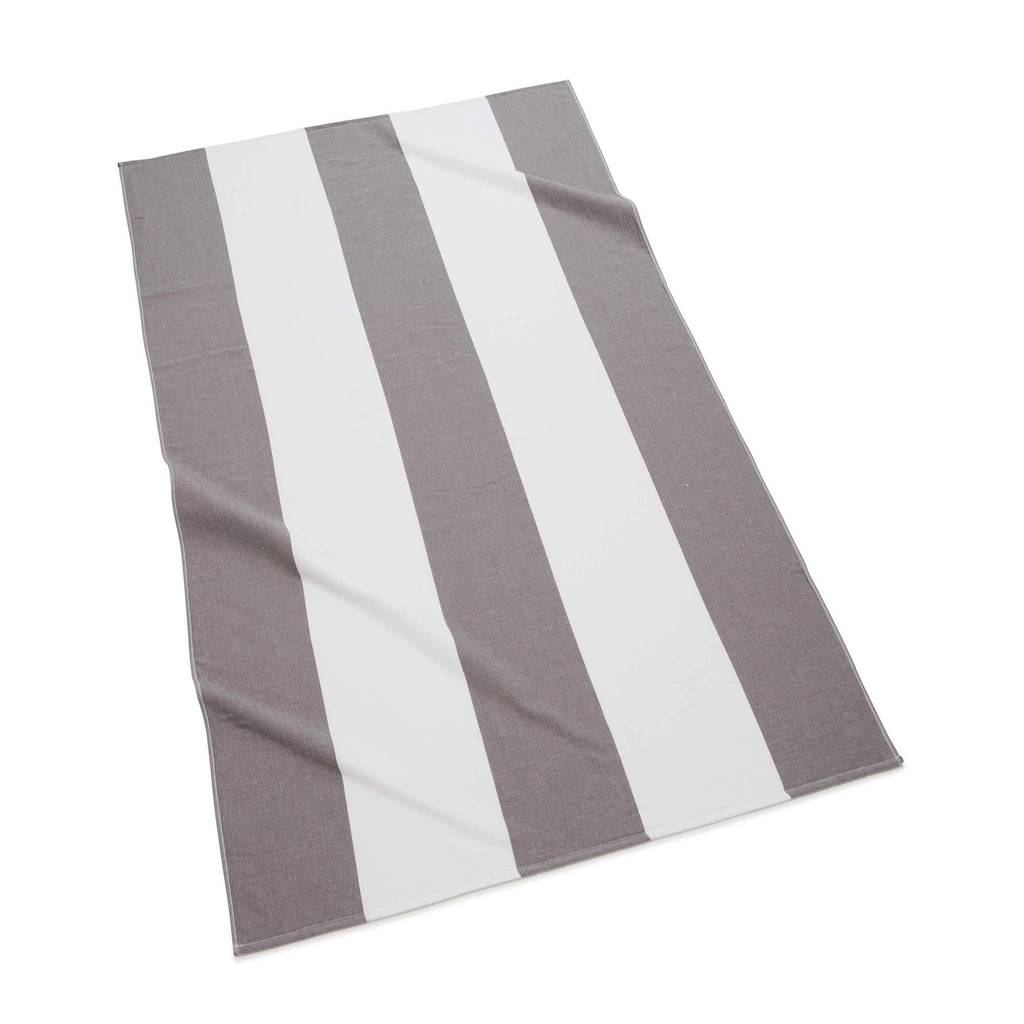 Block Stripe Beach Towel, Charcoal