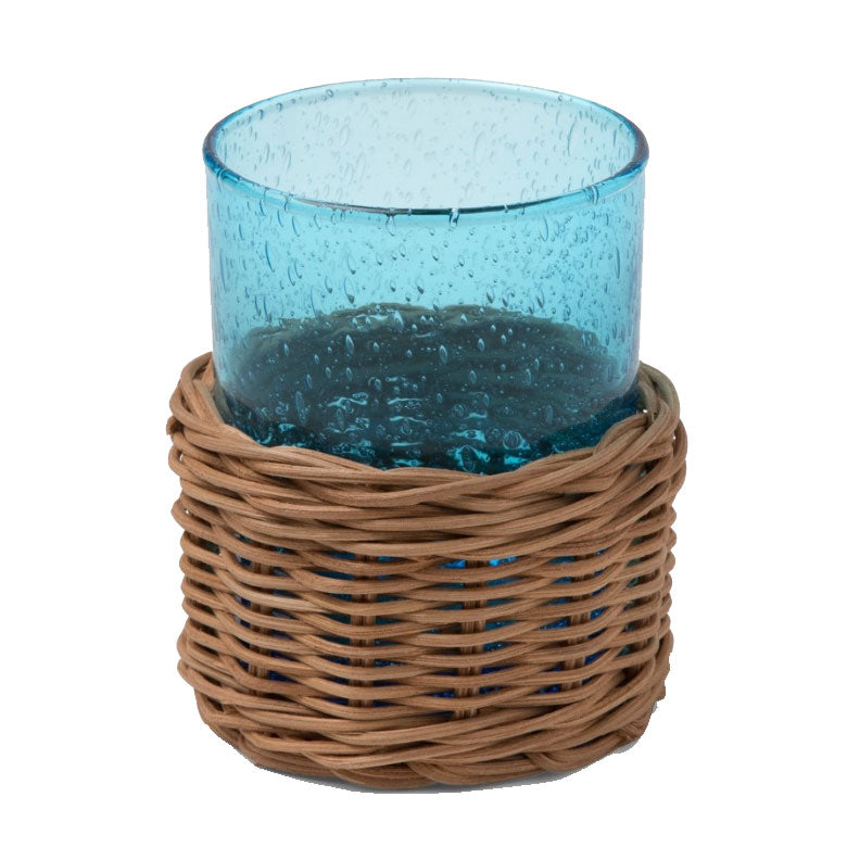 Mark D. Sikes Azul Natural Rattan Tumbler Glass Sleeve