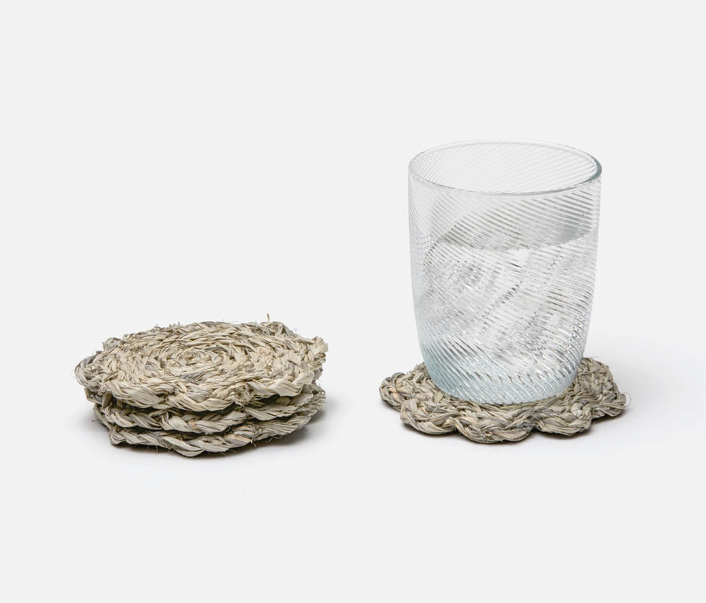Vera Mixed Gray Raffia Coasters, Set of 4