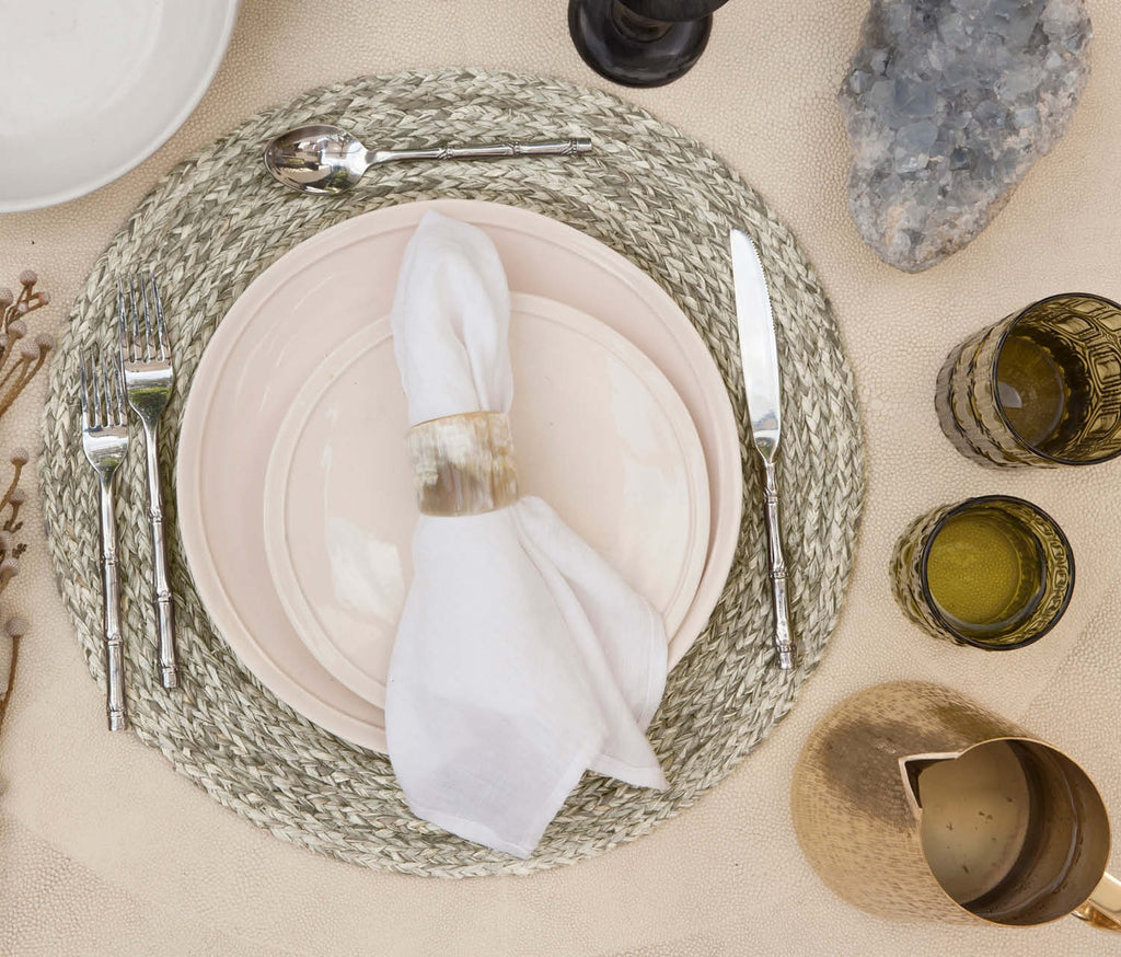 Zoey Mixed Grey Raffia Round Placemat