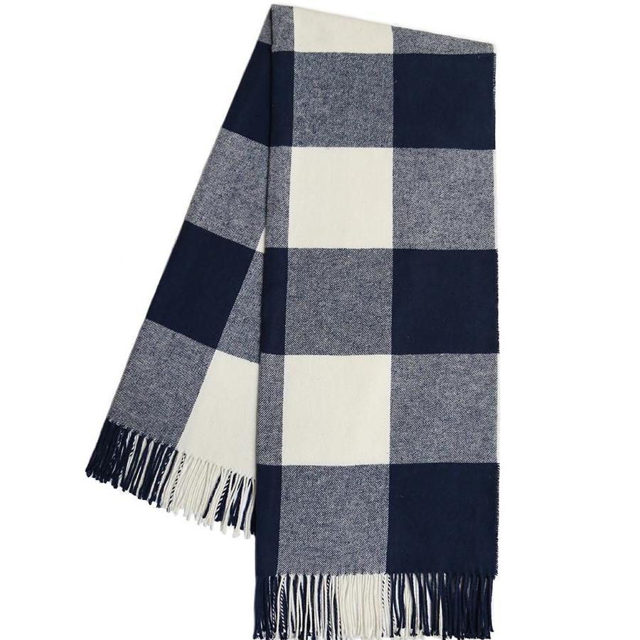 Navy Buffalo Check Throw Blanket