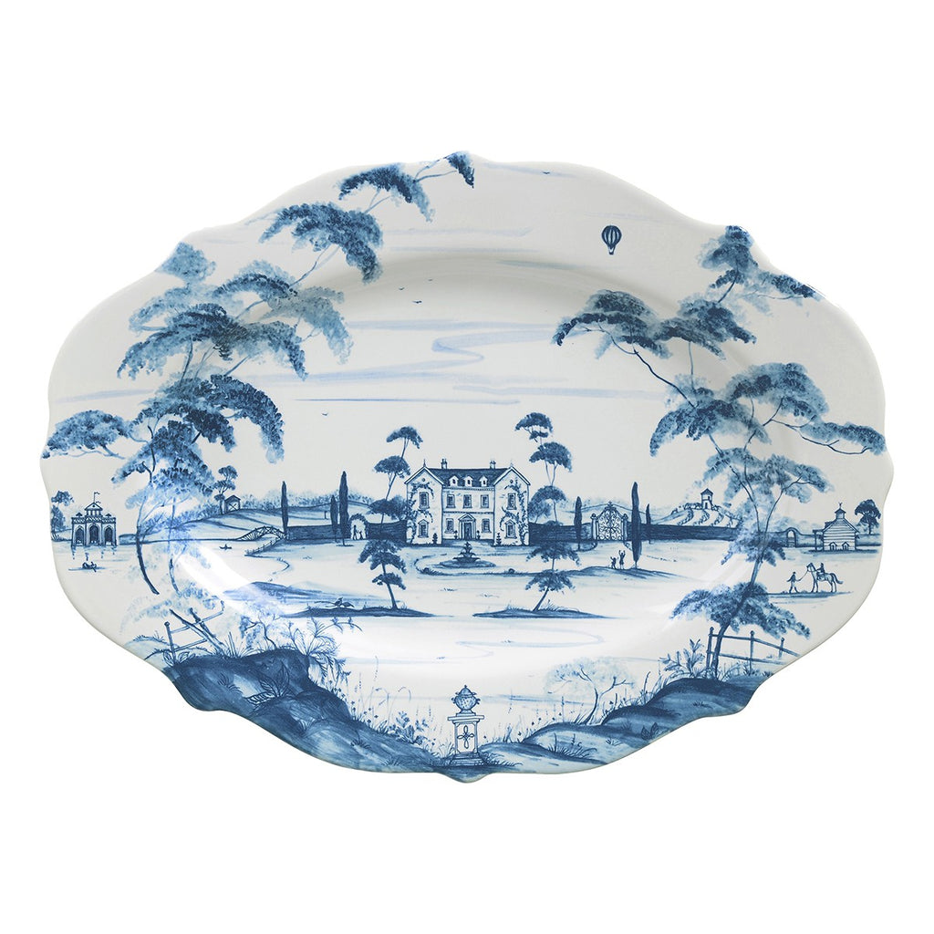 "Juliska Country Estate Delft Blue 18.5"" Serving Platter Main House"