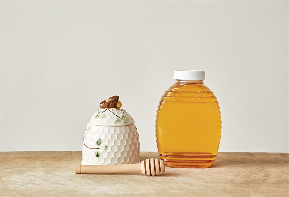 Honey Jar with Wood Dipper