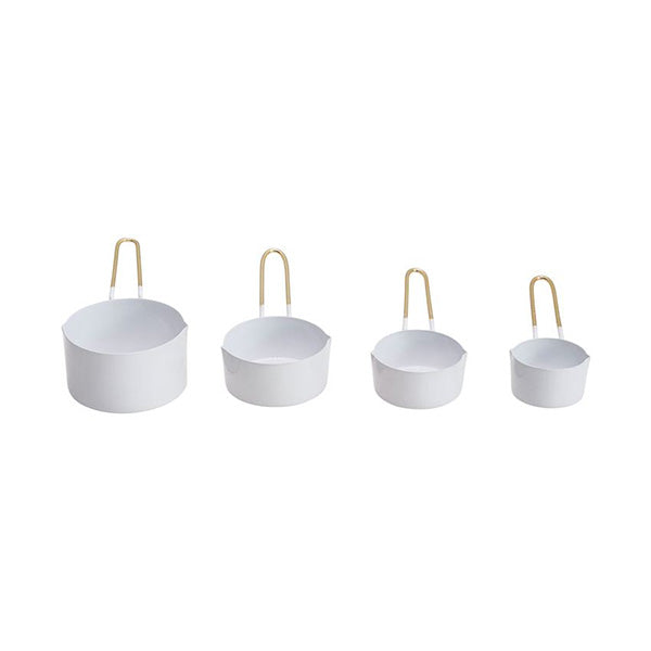 Enameled Measuring Cups, White & Gold, Set of 4