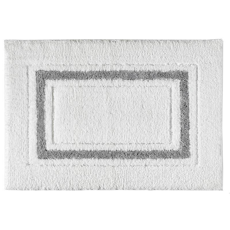 Framed Stripe Bath Rug, Charcoal