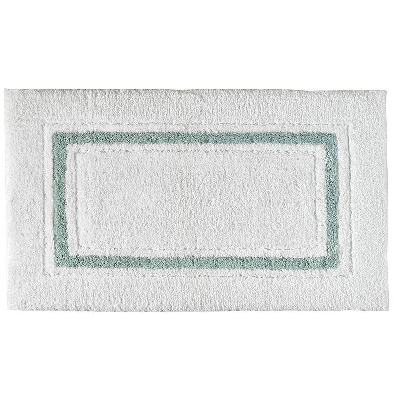 Framed Stripe Bath Rug, Seafoam