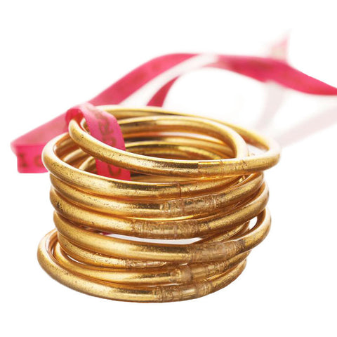 Budha Girl Serenity Prayer All Weather Gold Bangles - Set of 9