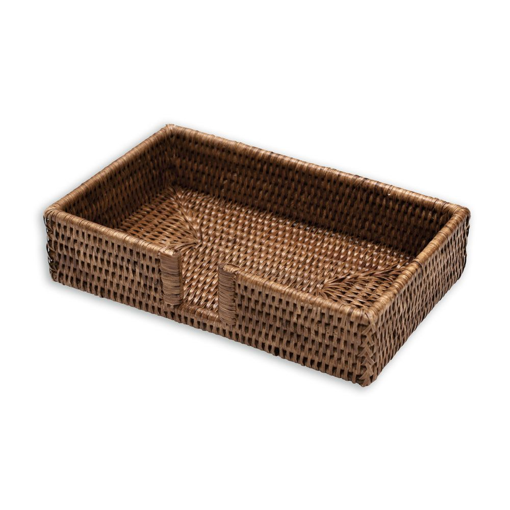 Rattan Guest Towel Napkin Holder, Dark Natural