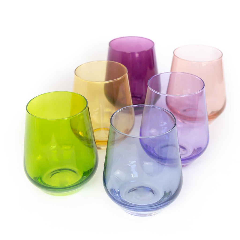 Estelle Mixed Colored Stemless Wine Glasses