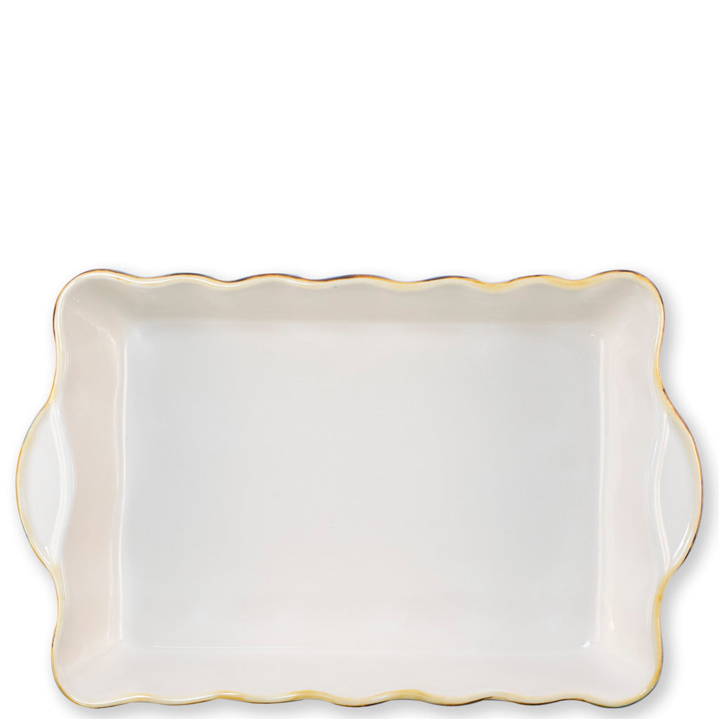 White Rectangular Italian Baker, Small