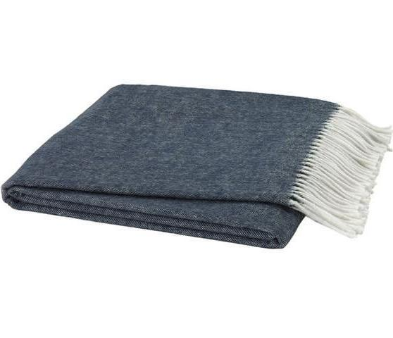 Italian Herringbone Navy Blue Throw