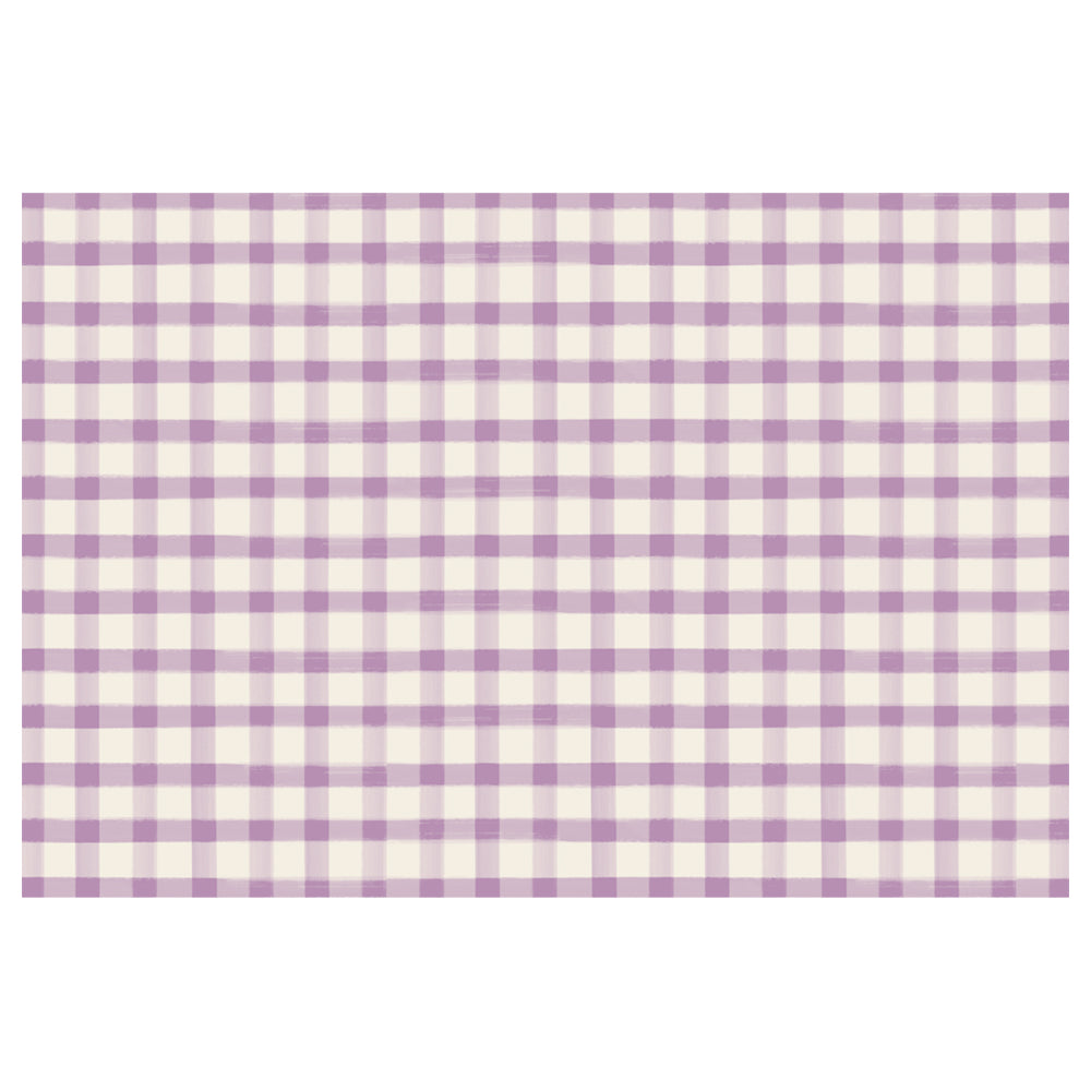 Lilac Painted Check Paper Placemats