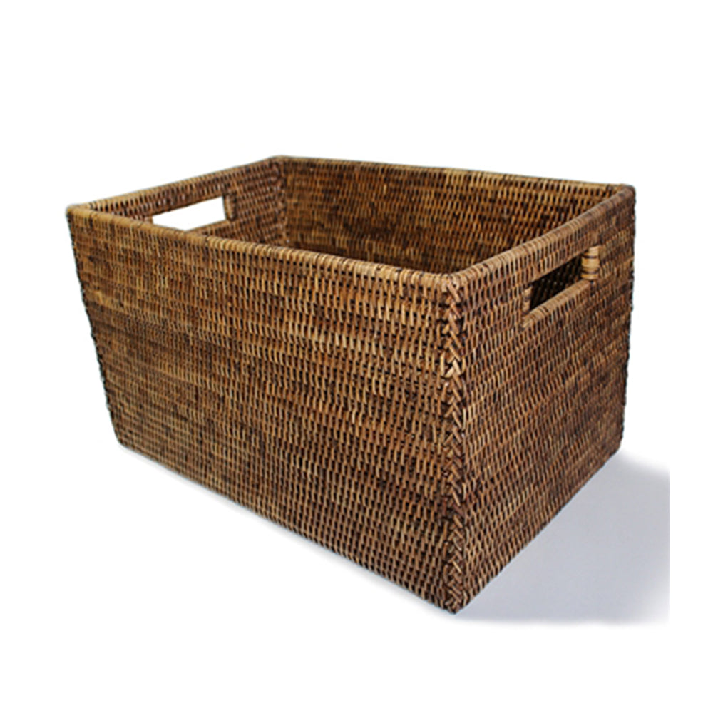 Rattan Open Storage  Basket, Antique Brown