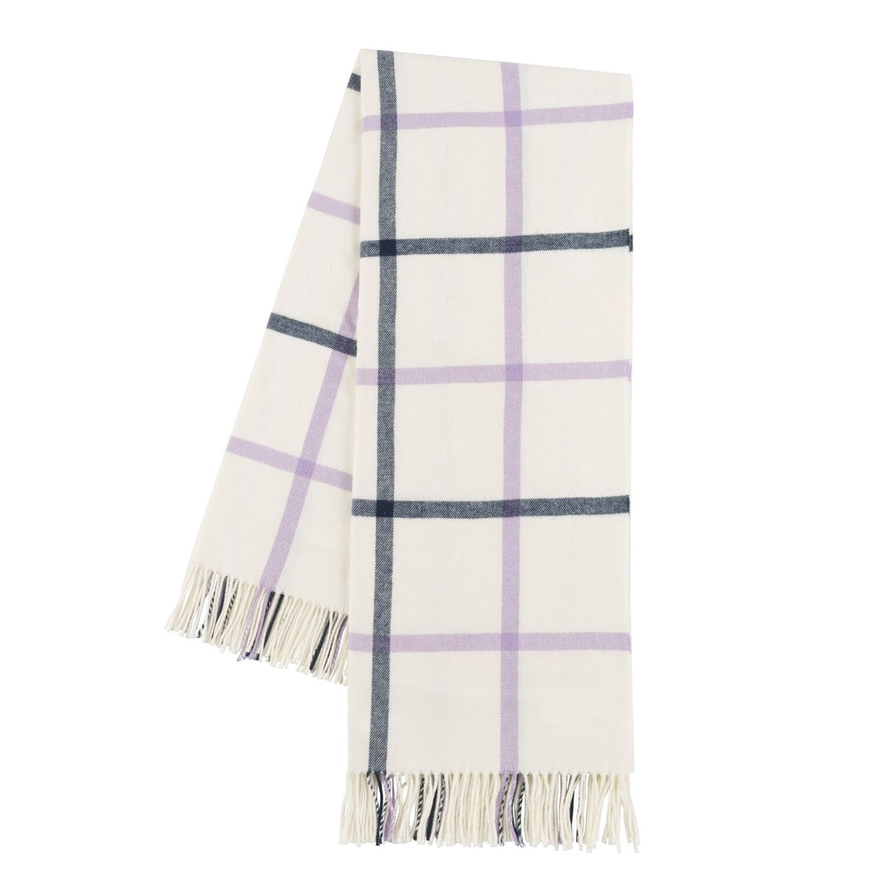 Lilac and Navy Tattersall Plaid Throw