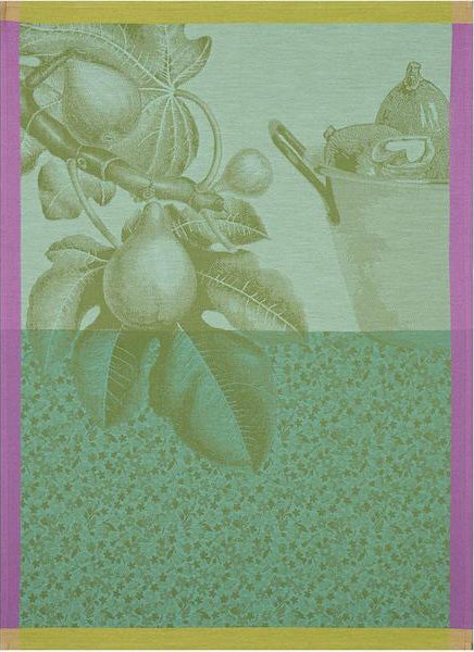 "Le Jacquard Francais ""Fruits du Verger"" Green Kitchen Towel"
