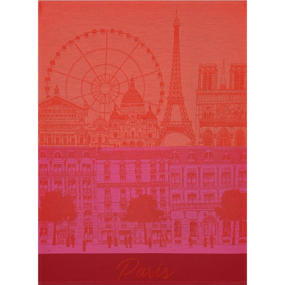 "Le Jacquard Francais ""Paris Panorama"" Red Kiss Kitchen Towel"