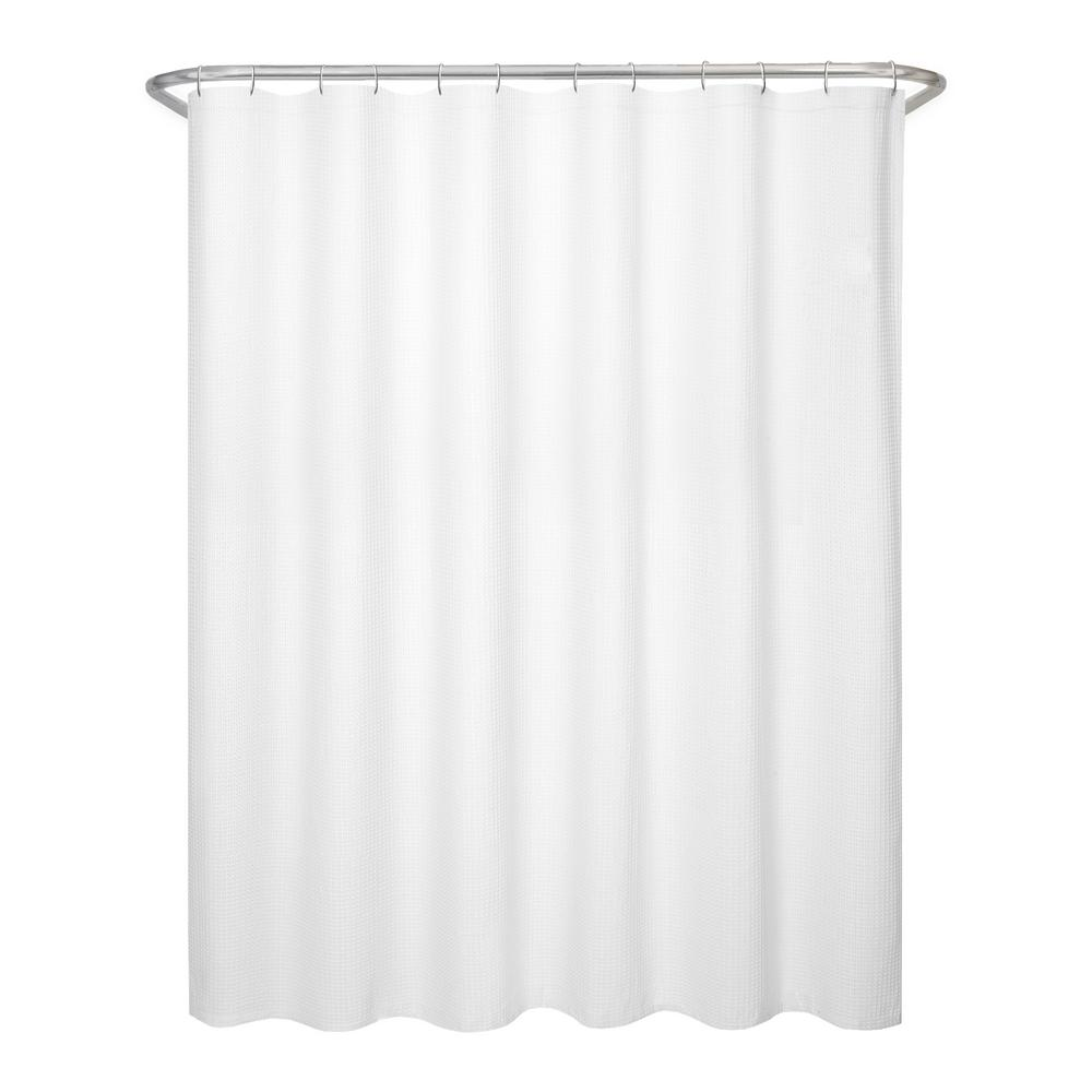 Waffle Cotton Shower Curtain, White