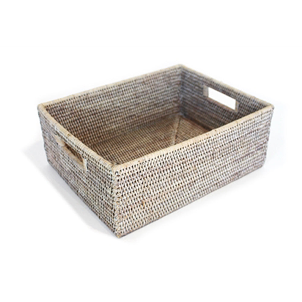 Rattan Everything Basket, White Wash