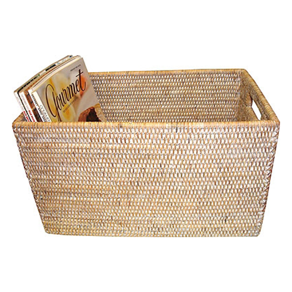 Rattan Open Storage  Basket, White Wash