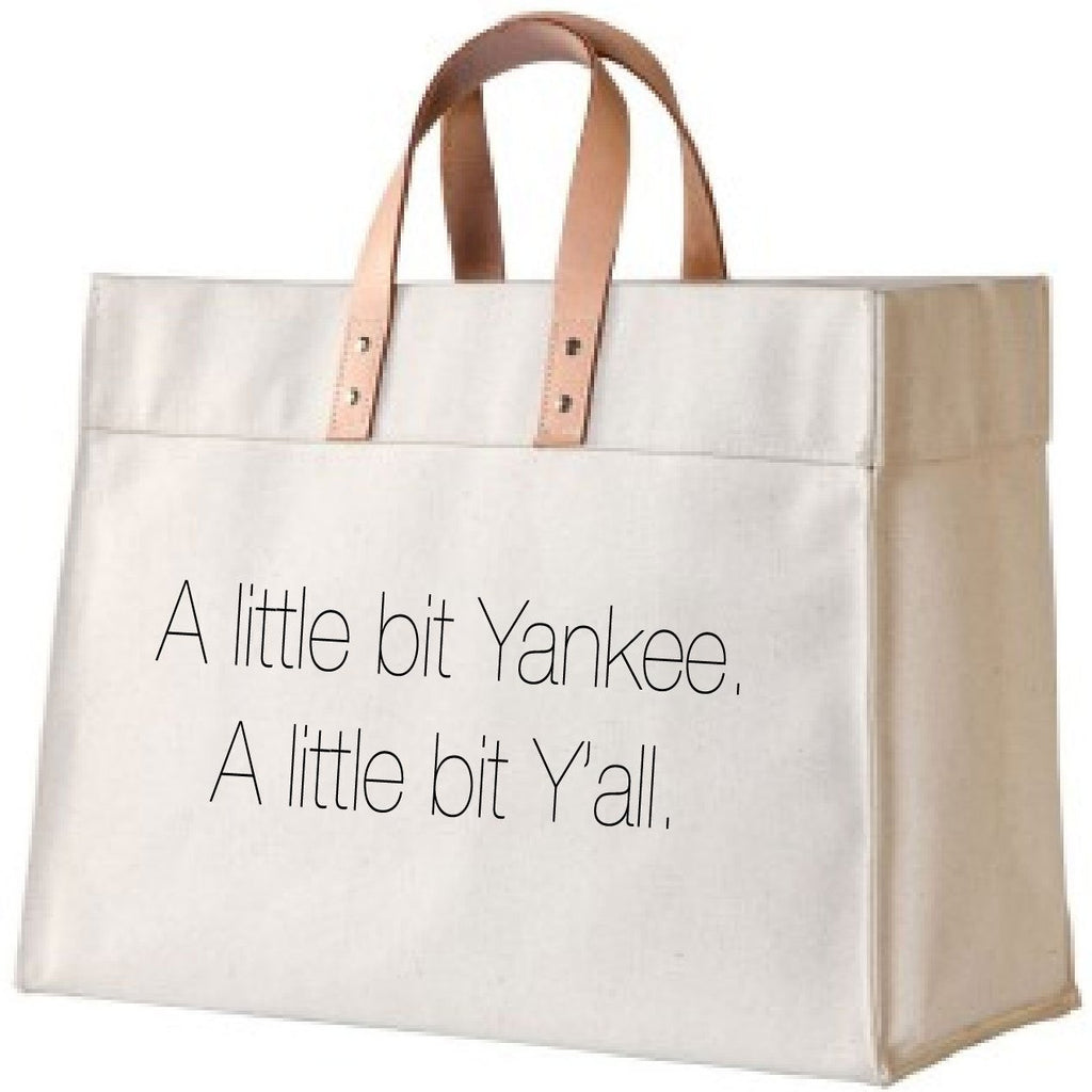 Yankee & Y'all Canvas and Leather Tote