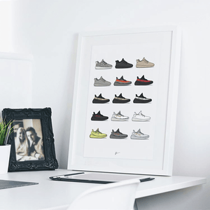 Yeezy 350 Collection Print - KickPosters - Lion Feet - Sneaker Tilbehør