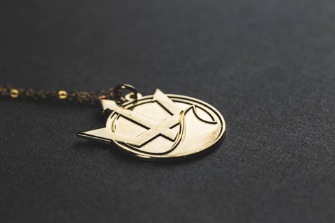 Trident Pendant Necklace (Brass)