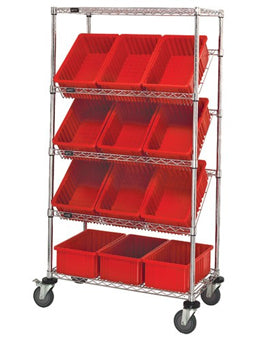 Quantum Slanted Wire Shelving with Bins