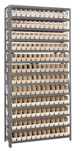 "Quantum Steel Shelving with Plastic Bins 4"" wide"