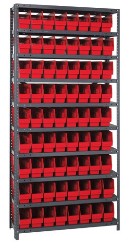 "Quantum Steel Shelving with Plastic Bins 6"" wide"