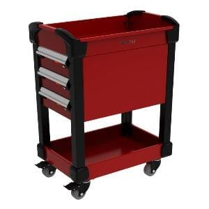Rousseau Multitek cart with drawers and shelves red in color
