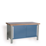 Closed workbench with blue sliding doors