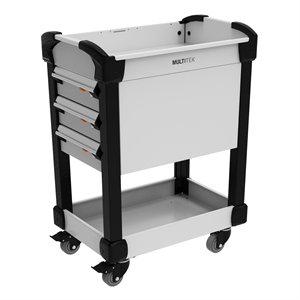 Rousseau Metal Multitek Carts with drawers and shelves grey in color for automotive service department
