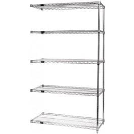 "Chrome Wire Shelving Unit 12""d x 72""w x 74""h Adder Unit"