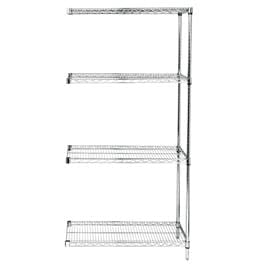 "Chrome Wire Shelving Unit 24""d x 42""w x 74""h Adder Unit"