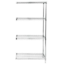 Quantum Stainless Steel Wire Shelving Units with 4 Shelves Adder Unit