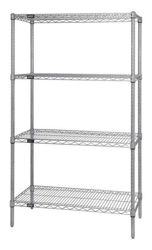 Quantum Stainless Steel Wire Shelving Units with 4 shelves