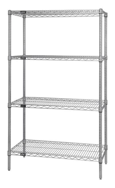 "Chrome Wire Shelving Unit 12""d x 42""w x 54""h Starter Unit"