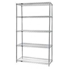 Quantum Stainless Steel Wire Shelving Units Starter with 5 Shelves