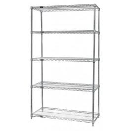 "Chrome Wire Shelving Unit 18""d x 60""w x 74""h Starter Unit"
