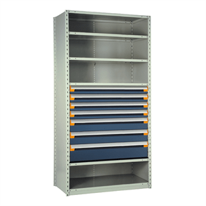 Rousseau Drawers in Shelving Units with 7 Blue Drawers and Compartments