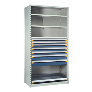 Rousseau Drawers in Shelving Unit with 7 Blue Drawers