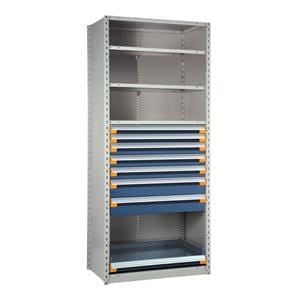 Rousseau Metal Drawers with Shelves and Rollout Shelf