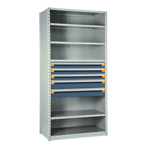 Rousseau Metal Shelving with Blue Drawers R5SHE-872401